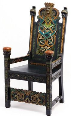 Viking throne chair by Lars Kinsarvik, c. 1898