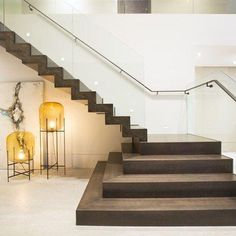 Contemporary Twilight by DKOR Interiors - MyHouseIdea Staircase Design Modern, Luxury Staircase, Home Stairs Design, Duplex House Design, Home Building Design, Modern Stairs, House Front Design, Railing Design, Interior Stairs