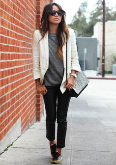 Love this combo. white blazer, nike, grey, sincerely jules