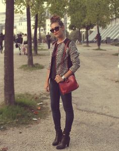 H&M Jaquard Jacket, Marc By Marc Jacobs Bracelet, Marc By Marc Jacobs Sunglasses, Desigual Skinny Jeans, Dolce & Gabbana Booties