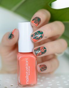 Nail Art Monstera Leaf (base All Eyes on me nailstation, stamping teal et plaque moyou london tropical)