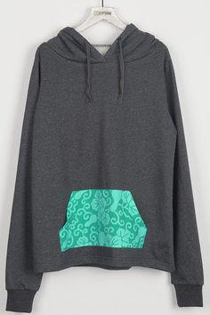 Cupshe Permanent Mark Contrast Color Pocket Sweatshirt