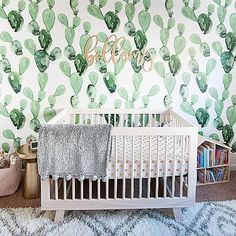 I can't get over how much I love Bellamy's nursery. It just came out even better than I imagined. I think one of my favorite things has to be the cactus wallpaper - and the cool thing is that it's totally repositionable and removable! Girl better like cac Miracle Baby, Our Baby, Get Over It, Coming Out, Cribs, Cactus, Nursery, Canning, Cool Stuff