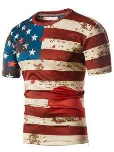 Patriotic American Flag Scrawel Print Side Hem Zipper Tee - multicolor L