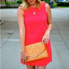 J.Crew scalloped dress J.Crew scalloped dress in coral color // worn once, fits up to size 6 // bundle to save 20%! J. Crew Dresses