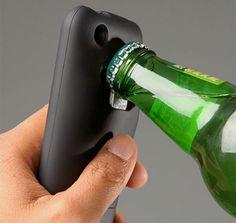 iBottleopener - Bottle Opening iPhone Case  http://www.thinkgeek.com/electronics/e61b/