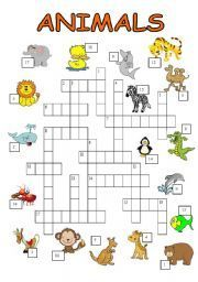 animals crossword puzzle - ESL worksheet by bburcu First Grade Math Worksheets, Vocabulary Worksheets, Worksheets For Kids, Rebus Puzzles, Crossword Puzzles, French Classroom, English Classroom, Phonics Rules, Activity Sheets For Kids