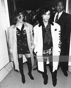 Singers Sheila E (left) and Prince arriving for a tour of Britain, July 25th 1988.