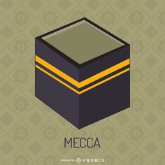Flat illustration featuring the Kaaba located in Mecca. Simple design, perfect for your project! Eid Stickers, Material Design Background, Electronic Media, Layout Template, Flat Illustration, Create A Logo, Ramadan, Layout Design, Simple Designs