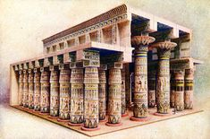 Reconstruction of the temple at Karnak (Thebes), Egypt.