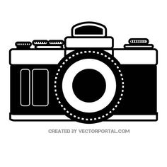 Analog camera vector image. Camera Illustration, Free Vector Illustration, Free Vector Images, Vector Free, Camera Painting, Forarm Tattoos, Firefighter Shirts, Hollywood Theme, Monogram Decal