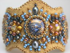 Bead embroidered- Buckskin Blues design by Ann Benson of BeadsEast