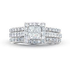 2 CT. T.W. Quad Princess-Cut Diamond Framed Three Piece Bridal Set in 14K White Gold - View All Rings - Zales