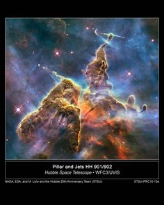 """""""This Hubble photo is of a small portion of one of the largest-seen star-birth regions in the galaxy, the Carina Nebula."""""""