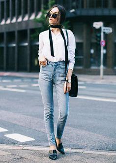 Street Style Skinny Scarf White Blouse