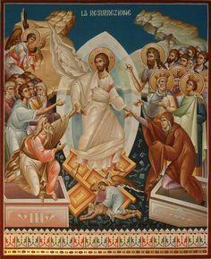 Résurrection d' Adam et Eve Religious Images, Religious Icons, Religious Art, Christ Is Risen, Jesus Resurrection, Byzantine Icons, Holy Week, Adam And Eve, Orthodox Icons