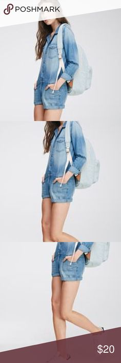 Long sleeve denim jumpsuitflash sale New with tags, medium denim jumpsuit, forever 21 premium denim. Size S. Forever 21 Shorts