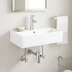 Buy the Signature Hardware 434221 White Direct. Shop for the Signature Hardware 434221 White Goncalves 22 Porcelain Wall Mounted Bathroom Sink with Single Faucet Hole and Overflow and save. Bathroom Layout, Bathroom Colors, White Bathroom, Modern Bathroom, Bathroom Ideas, Bathroom Renovations, Bathroom Designs, Shower Ideas, Bathroom Inspiration