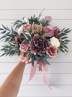 Rose Bridesmaid Bouquet, Purple Wedding Bouquets, Dusty Rose Wedding, Rose Wedding Bouquet, Bridal Hair Flowers, Rose Bouquet, Floral Wedding, Wedding Flowers, Fall Wedding