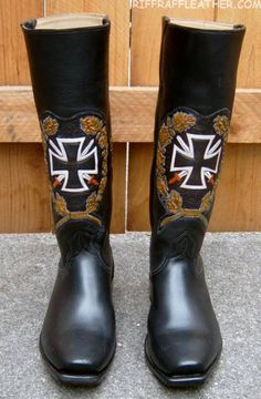 Lemmy's leather boots, design with Iron Cross. #HollywoodRiffRaff