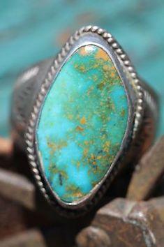 Vintage Navajo Stamped Sterling Silver Blue Gem Turquoise Ring | eBay