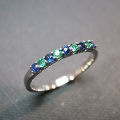Blue Sapphire and Emerald Wedding Ring in 14 by honngaijewelry, $405.00