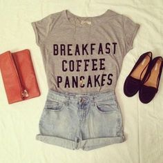 shorts shirt t-shirt breakfast coffe pancakes bag grey cute pretty girly purse outfit breakfast cofee pancakes breakfast cofee pancakes shirt nice idea outfits accessories denim shoes shoes necklace shorts clothes fashion love coffee tee food necklace gray t-shirts gray shirt breakfast coffee pancakes shirt graphic tee text top great shirt hipster panaches t-shirt gray