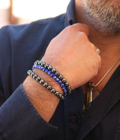 Hello and welcome to Lullabeads.  Before I write anything, I must warn you about these natural hematite bracelets. I find them extremely charming and