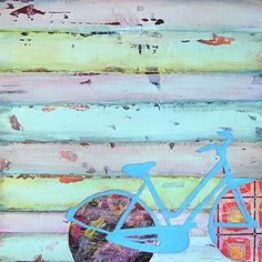 "Punctured Bicycle on a Hillside - Danny Phillips art print, UNFRAMED, bicycle cycling spin Inspired funky retro vintage mixed media art wall & home decor poster, ALL SIZES. This is a reproduction fine art print of a Danny Phillips' original mixed media painting. This poster comes UNFRAMED and is the perfect gift for the cycle lover. This print comes square with flush edges or in standard sizes with 1/2"" side white border backgrounds.**See pictures for examples**.This gift is an ideal..."