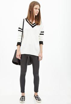 Varsity-Striped Sweater