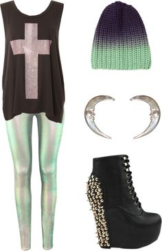 """""""Untitled"""" by maya-monster on Polyvore, I only like the hat and leggings"""