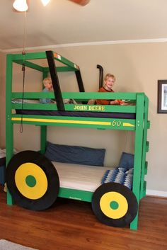 Cool DIY Tractor Bunk Beds For Your Boys | Kidsomania woah these are sweet. ive never seen a bunkbed like this.