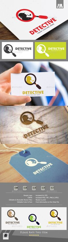 Detective Logo by maraz2013 Logo Template Features : - 100% Scalable Vector Files - Photoshop File also - Editable - Resizable - Easy to edit color / text -