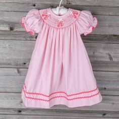 Smocked Ballet Slippers Pink Gingham Bishop Dress by Classic Whimsy. Available for purchase on Smocked Auctions.