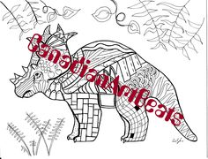 Printable Downloadable Dinosaur  Zentangle inspired Kids Coloring Page by CanadianArtBeats on Etsy