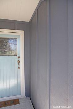 Door: Resene Sorrento; Walls: Resene Quarter Grey Friars