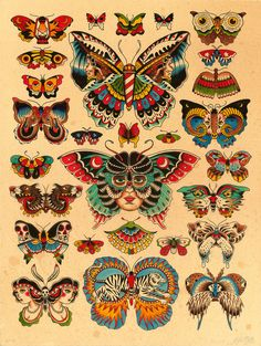 "Lots of butterflies. Kyler Martz 18""x24"" Ink and watercolor on paper. 2012."
