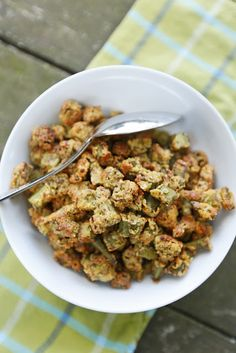 The Chubby Vegetarian: Simple Oven-Fried Okra