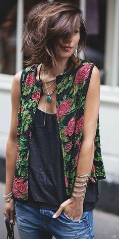 #summer #classy #outfits | Embroidery + Black + Denim Source