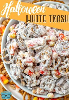 Halloween White Trash mix is a no-bake salty and sweet dessert. A mixture of peanuts, pretzels, candy corn and white chocolate vanilla melts. Thanksgiving Recipes, Fall Recipes, Healthy Dinner Recipes, Holiday Recipes, Snack Recipes, Cooking Recipes, Holiday Treats, Fall Treats, Sweets Recipes