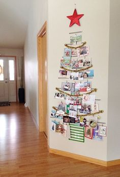 Clever and creative Christmas Card display ideas by The Organsied Housewife. Christmas Card Display, Christmas Card Crafts, Diy Christmas Tree, Christmas Card Holders, Christmas Projects, Simple Christmas, Holiday Cards, Christmas Holidays, Christmas Ideas