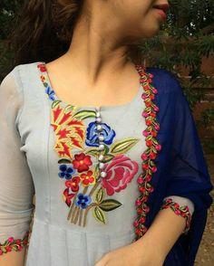 Ladies Salwar Kameez Kurti Suit Latest Fashion for Girls 2017 Churidar Designs, Indian Fashion, Womens Fashion, Embroidery Suits, Embroidery Designs, Embroidered Clothes, Indian Designer Wear, Salwar Kameez, Khadi Kurta