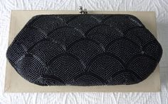 Vintage black beaded evening clutch with original box Metal Chain, Black Satin, Evening Bags, Bag Making, Vintage Black, Coin Purse, Box, Etsy, Snare Drum