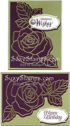 Stampin' Up! Cards - 2016-01 Class - Wedding, Birthday, Rose Wonder Stamp Set, Rose Garden Thinlits Dies, Sky is the Limit Sale-A-Bration Stamp Set