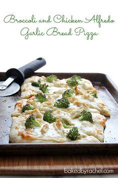Broccoli and Chicken Alfredo Garlic Bread Pizza via baked by rachel