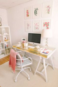 Genius! Update a plain Ikea desk with gold leaf.