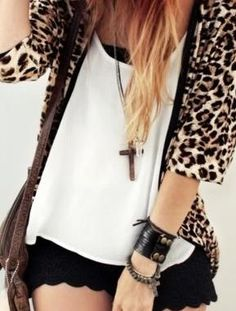 black lace shorts with a leopard cardigan.
