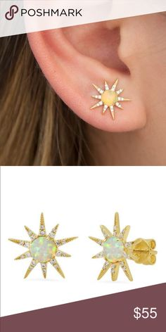 3841c3c23 Gold Sunburst Stud Earrings Boho Chic Gold Sunburst Stud Earrings. Boho  Chic Ear Studs with