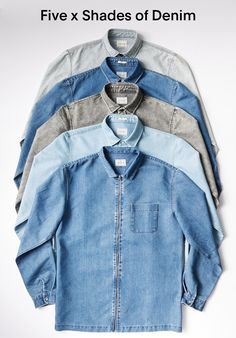 Five X Shades of Denim Denim Shirt With Jeans, Men's Denim, Denim Style, Hipsters, Denim Shop, Work Wear, Autumn Fashion, Menswear, Mens Fashion