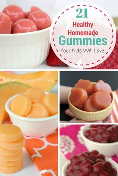 21 Healthy Homemade Gummies Your Kids Will Love! - Perfect Snacks For Kids Gelatin Recipes, Candy Recipes, Baby Food Recipes, Snack Recipes, Melon Recipes, Homemade Gummies, Homemade Candies, Homemade Gummy Bears, Fruit Snacks Homemade